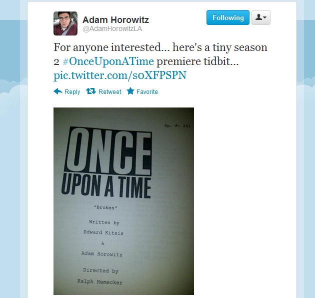 Adam Horowitz - twitter - episode one - season two - once upon a time